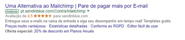 Exemplo de resultado de busca no google ads