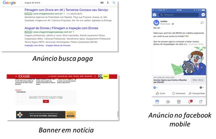 Exemplos de impressão de anúncios