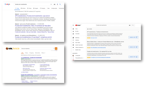 Exemplos - rede de pesquisa do Google Ads