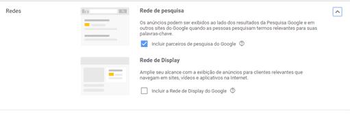Configuração de campanha Google Ads